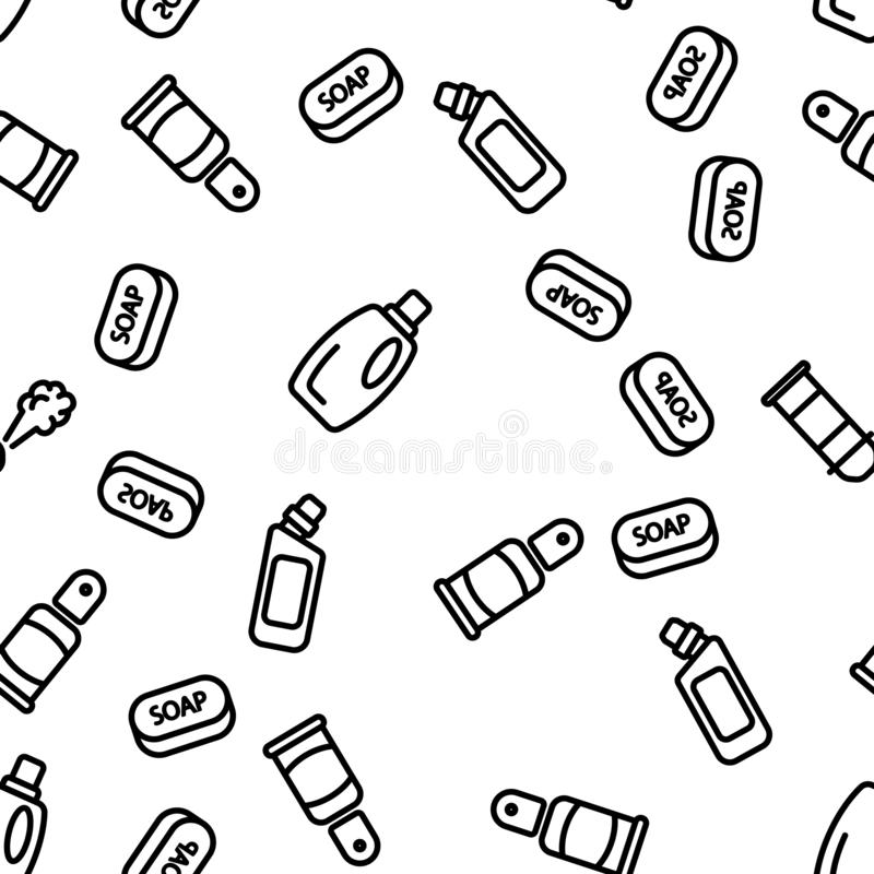 Disinfectant, Antibacterial Substance Vector Seamless Pattern. Contour Illustration vector illustration
