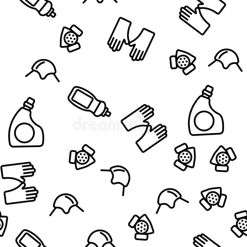Disinfectant, Antibacterial Substance Vector Seamless Pattern. Contour Illustration royalty free illustration