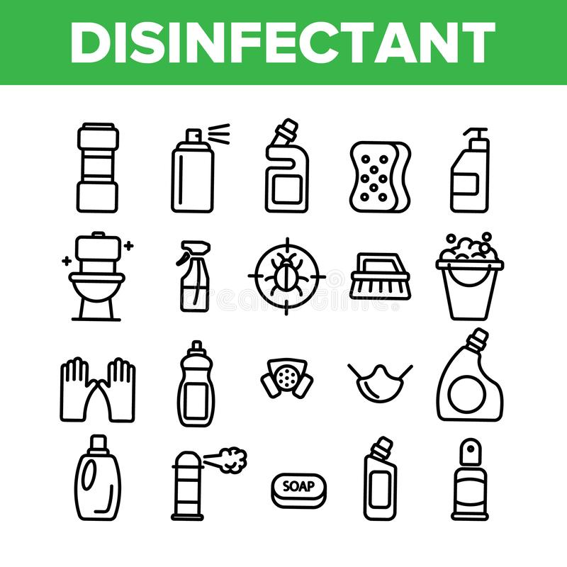 Disinfectant, Antibacterial Substance Vector Thin Line Icons Set royalty free illustration