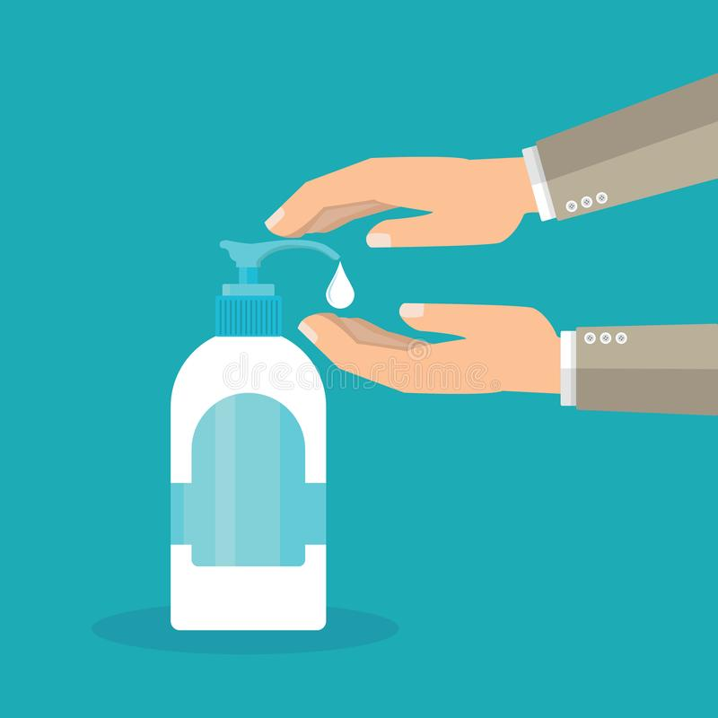 Disinfection concept. Liquid soap with pumping from bottle. Applying a moisturizing sanitizer. Man washing hands vector illustration