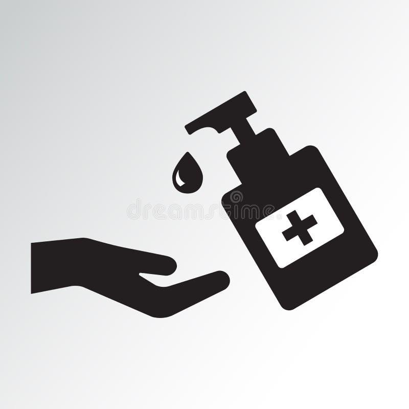 Hand sanitizer bottle icon, washing gel. Vector illustration stock illustration