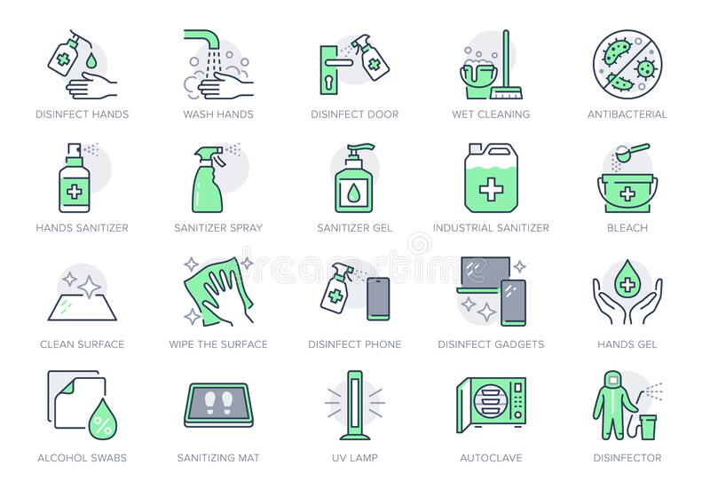 Disinfection line icons. Vector illustration included icon as spray bottle, floor cleaning mop, wash hand gel, autoclave. Uv lamp outline pictogram for royalty free illustration