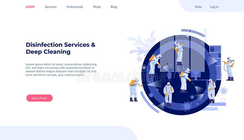 Disinfection Services and Deep Cleaning concept. Coronavirus, pandemic. Group Of Janitors In Uniform Cleaning and. Decontamination to curb infection. Web page stock illustration