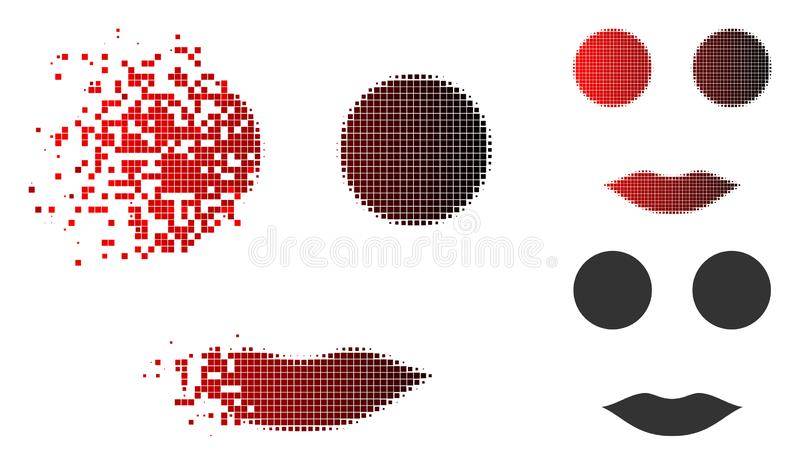 Disintegrating Pixelated Halftone Woman Smiley Icon. Woman smiley icon in dispersed, dotted halftone and undamaged whole versions. Elements are composed into stock illustration