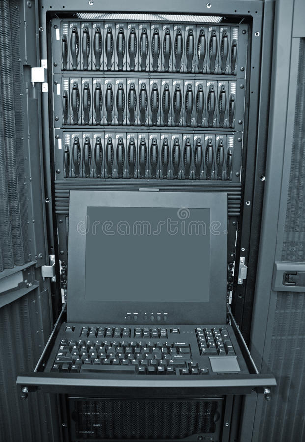 Disk Array and Server Control Station. Image of a network disk array with server console control station computer stock photo