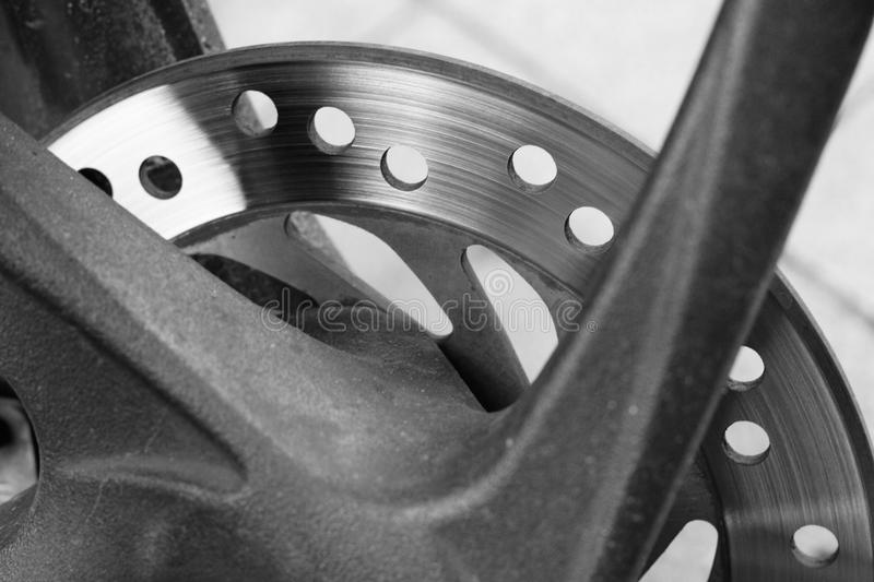 Disk brake motor cycle black and white automotive object stock image