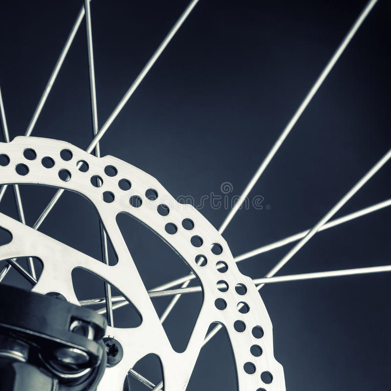 Disk brake of a mountain bicycle stock images