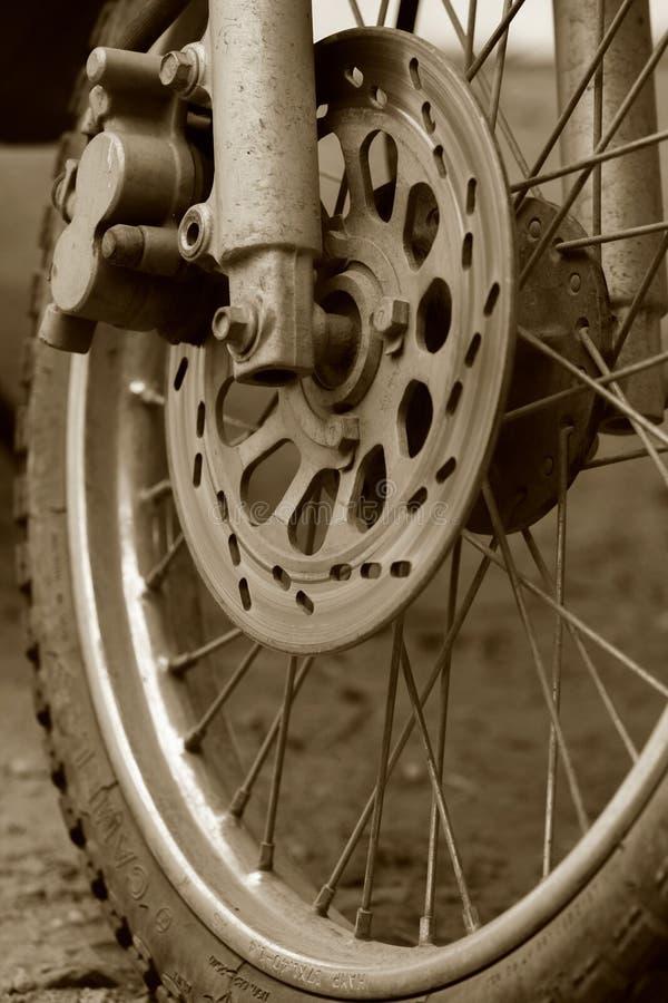 Disk Break Motorcycle. Close up and selective focus motorbike disc break & wheel detail stock photos