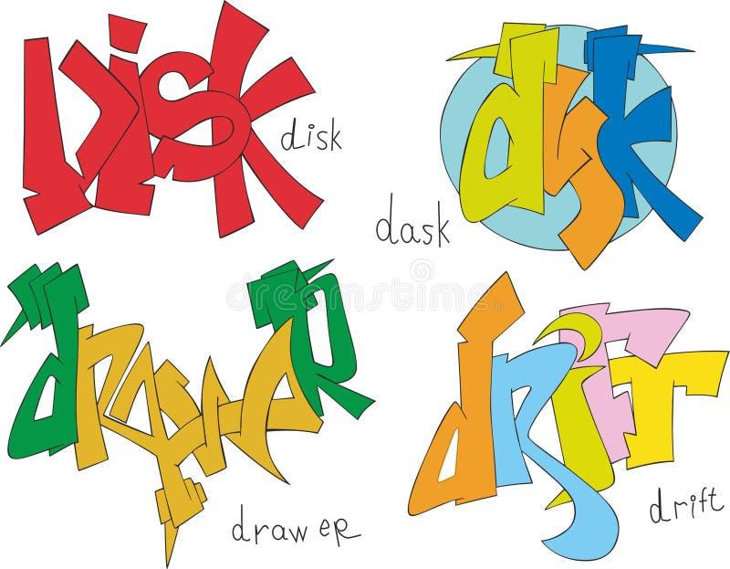 Disk, dask, drawer and drift graffiti. Set of four graffiti sketches - disk, dask, drawer and drift royalty free illustration