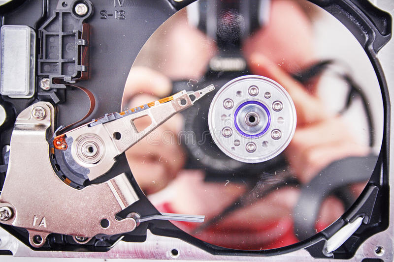 Disk drive background. Disk drive inside as nice technology background stock image