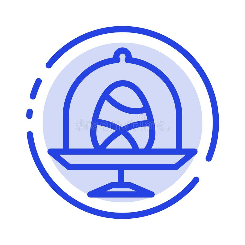 Disk, Egg, Food, Easter Blue Dotted Line Line Icon royalty free illustration