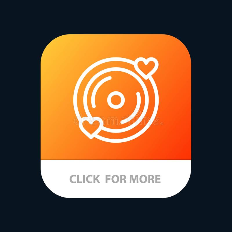Disk, Love, Heart, Wedding Mobile App Button. Android and IOS Line Version stock illustration