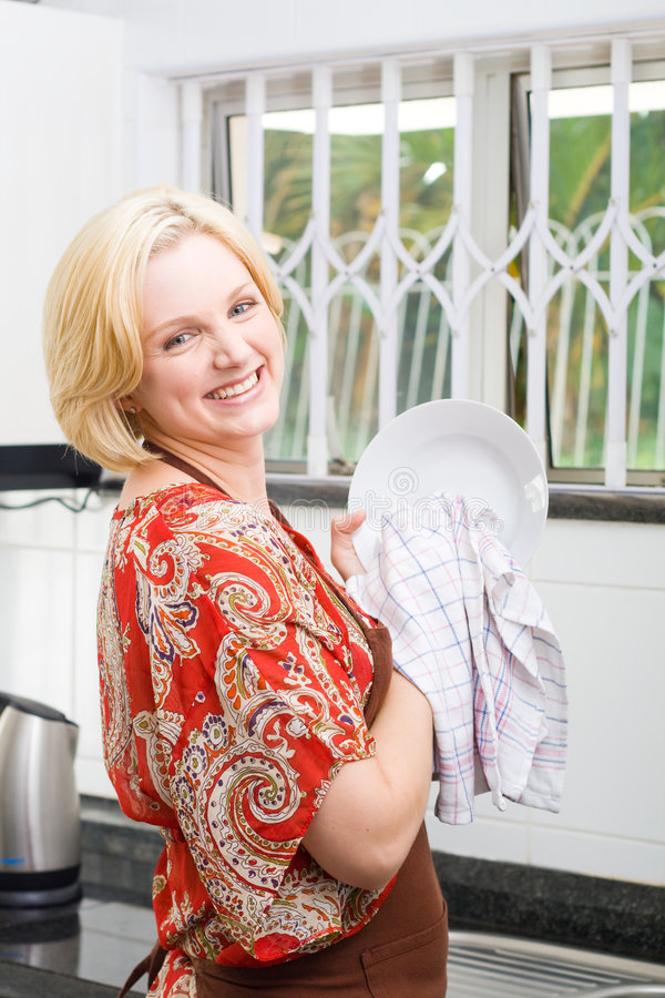 disk som tvättar kvinnan royaltyfria bilder