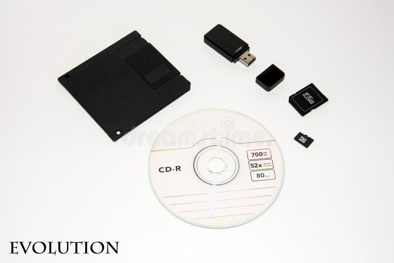 Diskett skiva, pråligt drev, minneskort, mikrokort isolerat royaltyfri fotografi