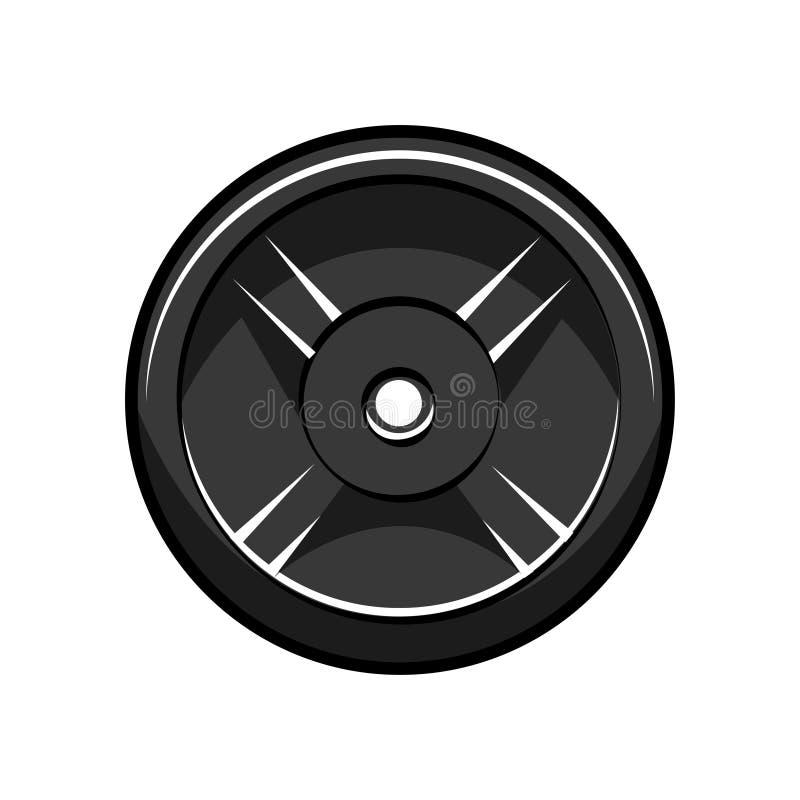 Diskette Barbell Schattenbild des Bodybuilders Bodybuilding, Eignungslogoaufkleber-Ausweisemblem Vektor vektor abbildung