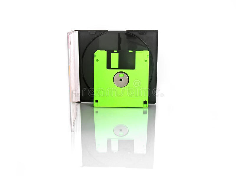 Diskette and box on white background royalty free stock image