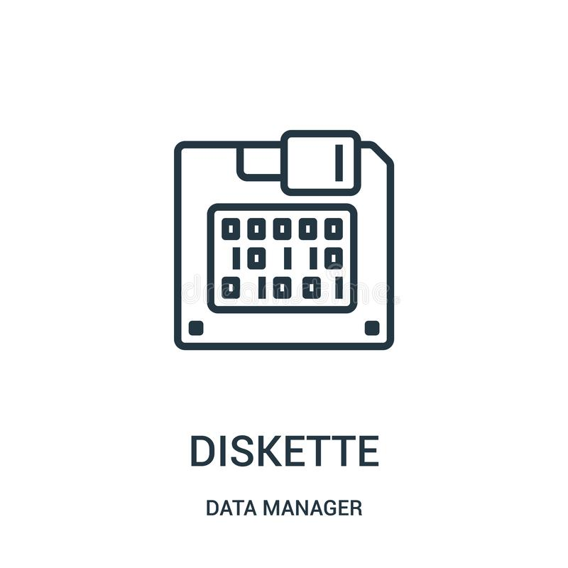 diskette icon vector from data manager collection. Thin line diskette outline icon vector illustration. Linear symbol for use on royalty free illustration