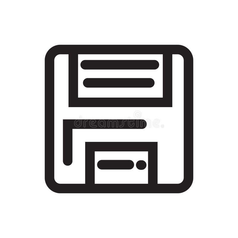 Diskette sparen het vectorteken van het knooppictogram en geïsoleerd symbool royalty-vrije illustratie
