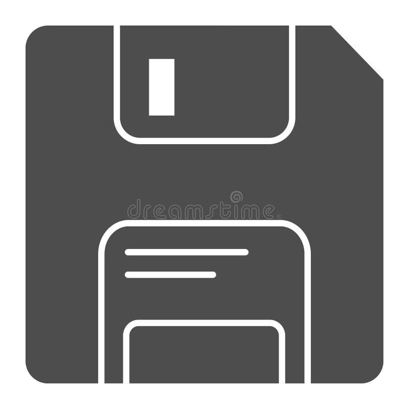 Diskette stevig pictogram Geheugen vectordieillustratie op wit wordt geïsoleerd Het ontwerp van de gegevens glyph stijl, voor Web stock illustratie