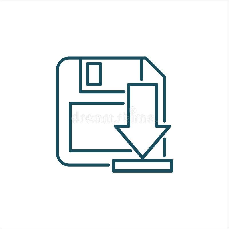 Disketten-Abwehr-Ikonen-Vektor-Linie Kunst lizenzfreie abbildung