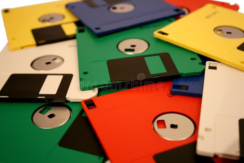 Diskettes coloreadas multi viejas fotos de archivo