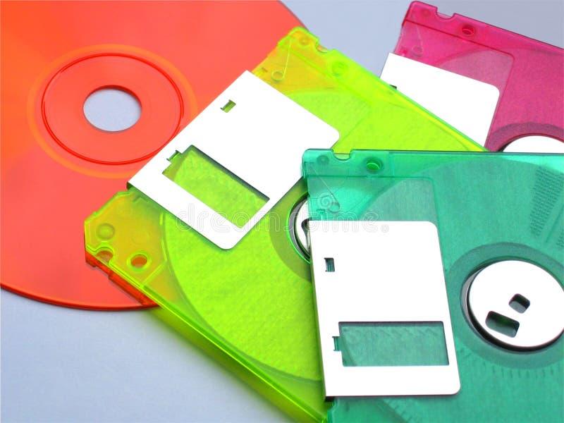 Diskettes en een CD stock foto
