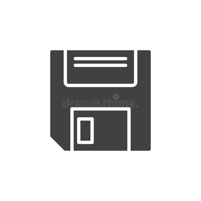 Diskettsymbolsvektor, fyllt plant tecken, fast pictogram som isoleras på vit stock illustrationer
