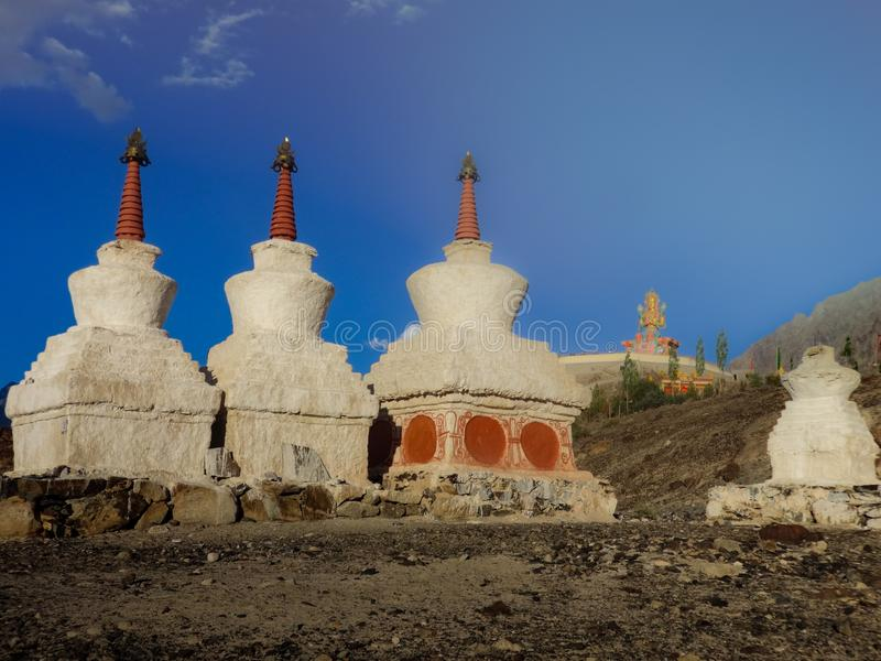 Diskit Gompa with Stupas in the front stock photos
