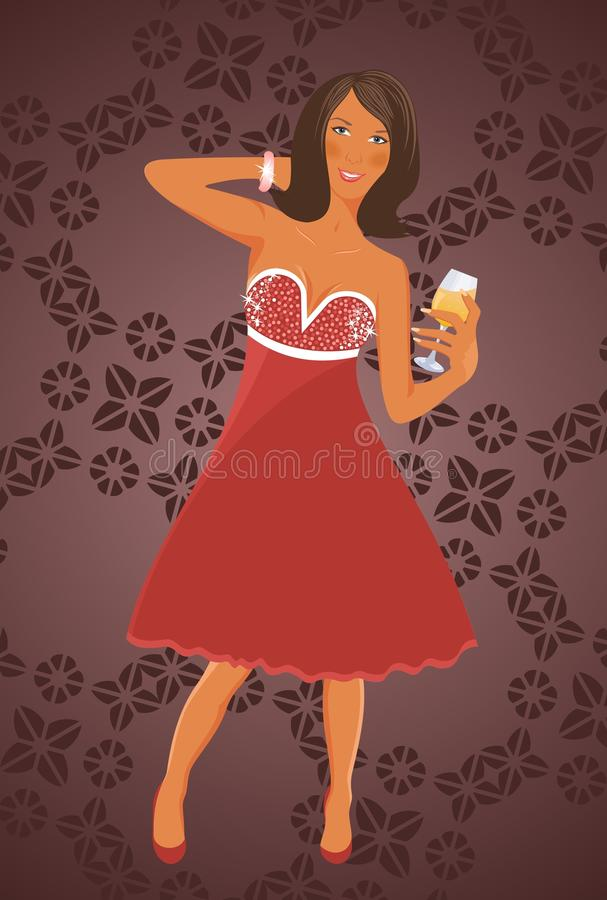 Download Disko diva with cocktail stock vector. Image of elegance - 21773837
