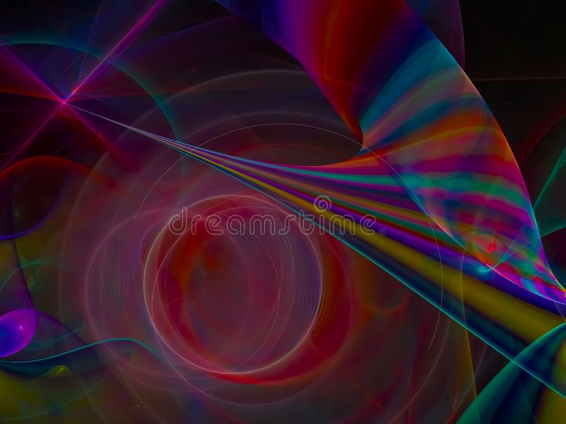 Disko för digital abstrakt design för framtid för Fractal skinande unikt dekorativ idérik härlig fantastisk vektor illustrationer