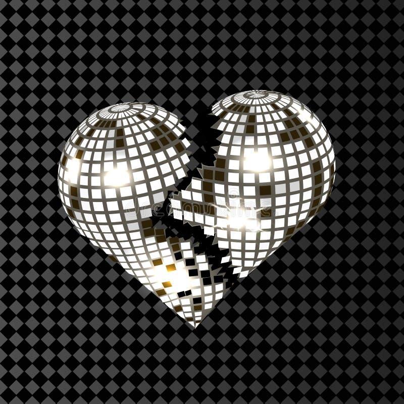 Diskoboll för bruten hjärta i grått som isoleras på genomskinlig bakgrund stock illustrationer