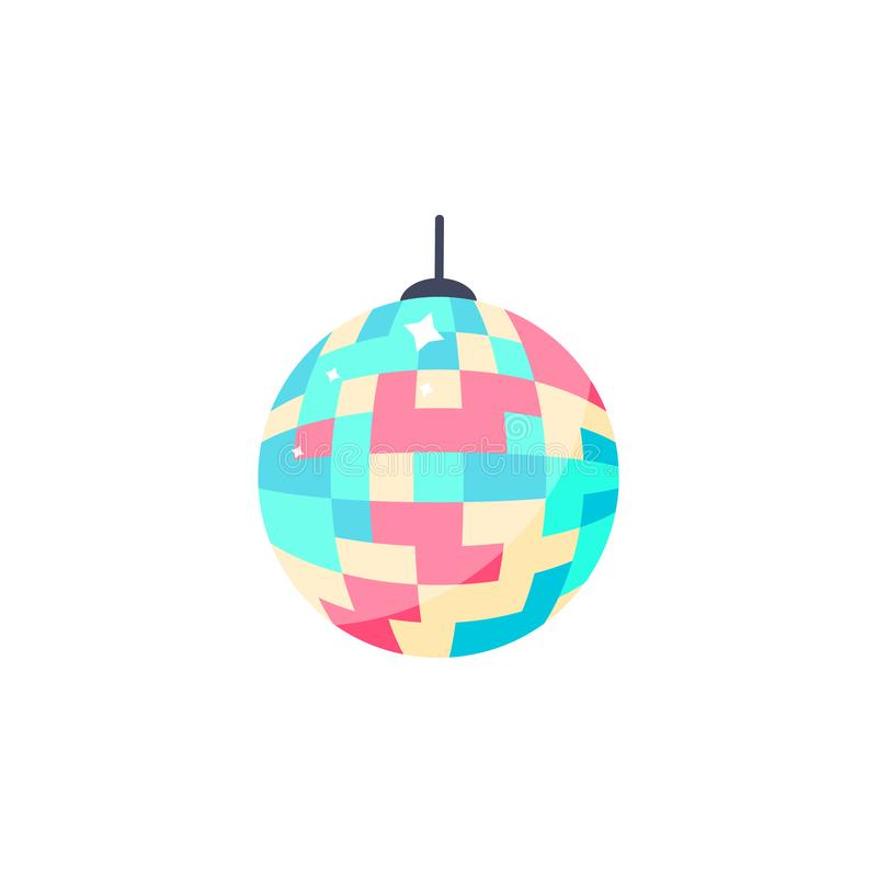 Diskobollsymbol Isolerad färgrik boll för parti royaltyfri illustrationer