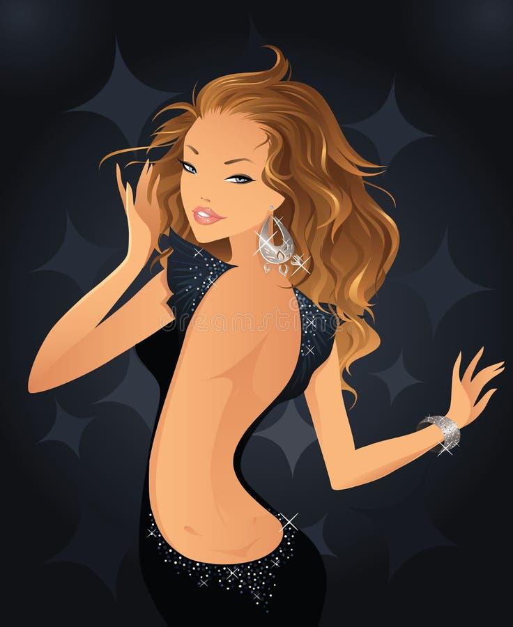diskoflicka royaltyfri illustrationer