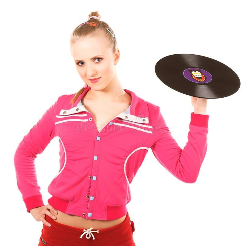 Diskoflicka med vinyl royaltyfria bilder