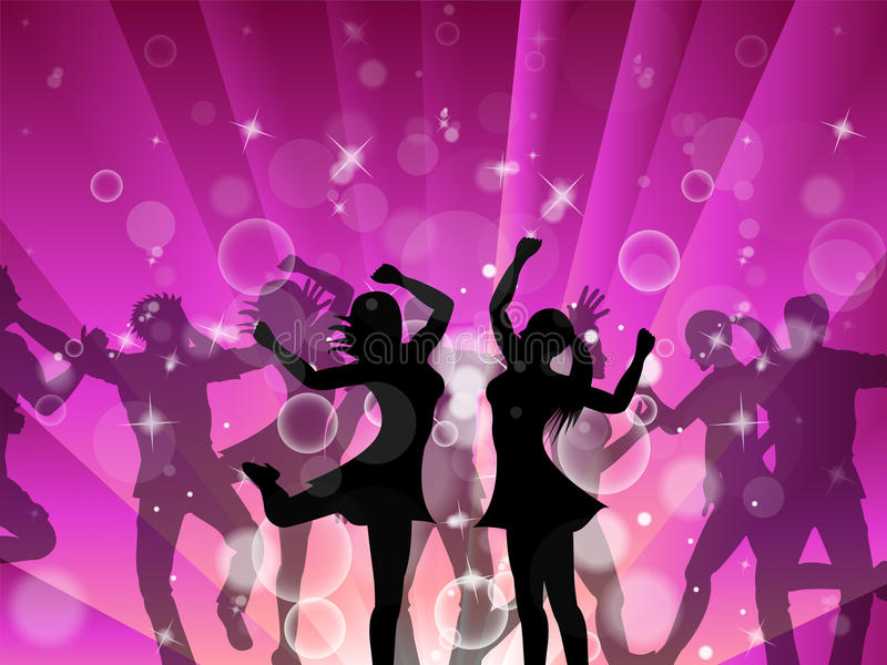 Diskokvinnor indikerar den dansdiskoteket och kvinnlign royaltyfri illustrationer