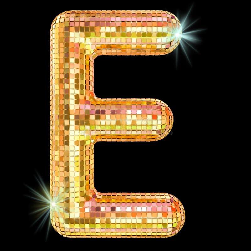 Diskostilsorten, bokstav E från guld- blänker spegelfasetter framf?rande 3d royaltyfri illustrationer