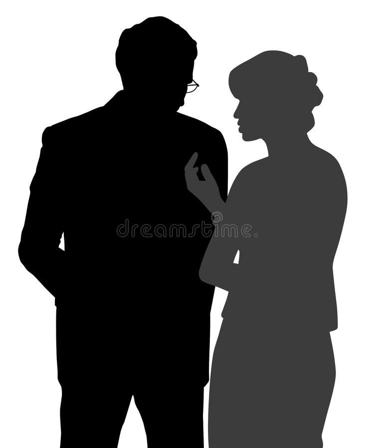 Diskret konversation för man och för kvinna vektor illustrationer