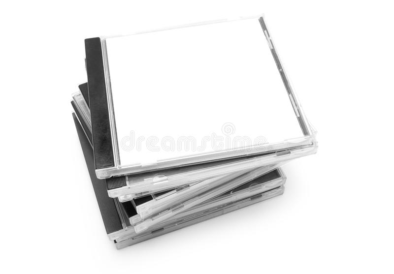 Disks. Pack of boxes from disks isolated on white background stock images