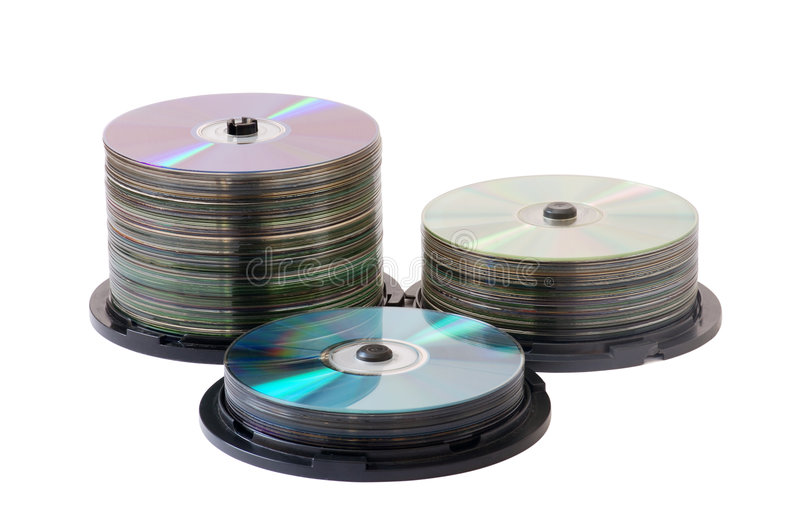 Disks. Boxes with disks on white background royalty free stock photo
