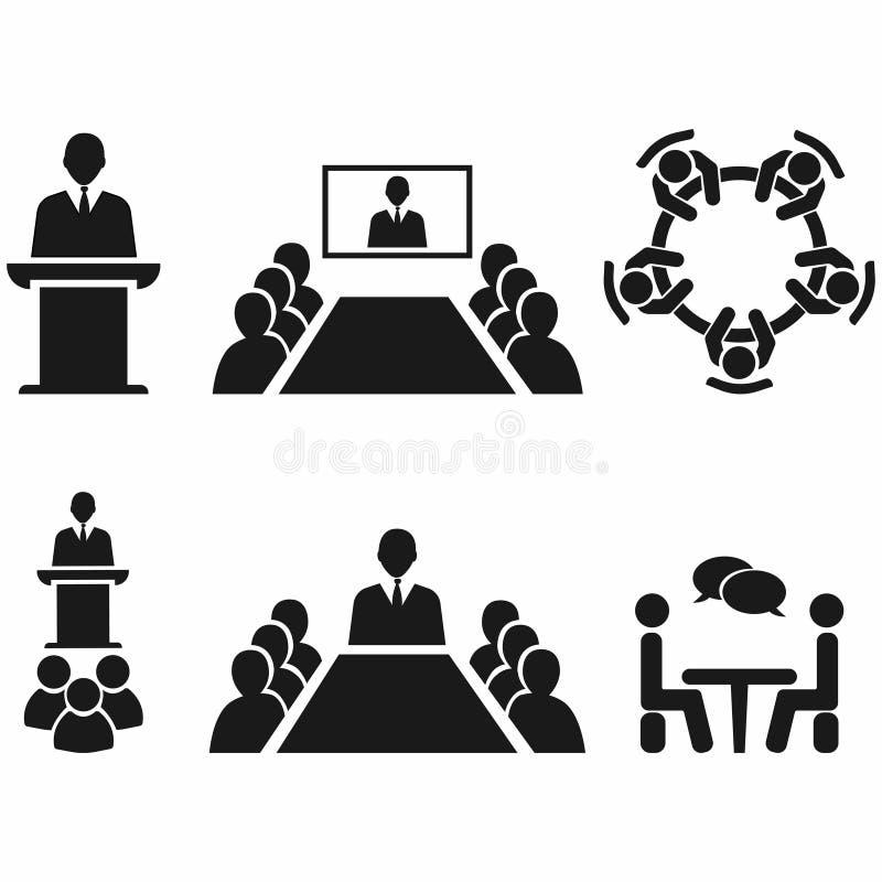 Diskussion för affärsmöte Teamworkaktivitet Folk runt om tabellen Offentlig högtalare på sockeln också vektor för coreldrawillust stock illustrationer