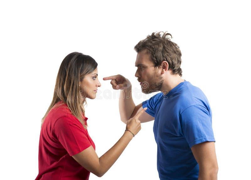 Diskussion mellan maken och frun arkivfoton
