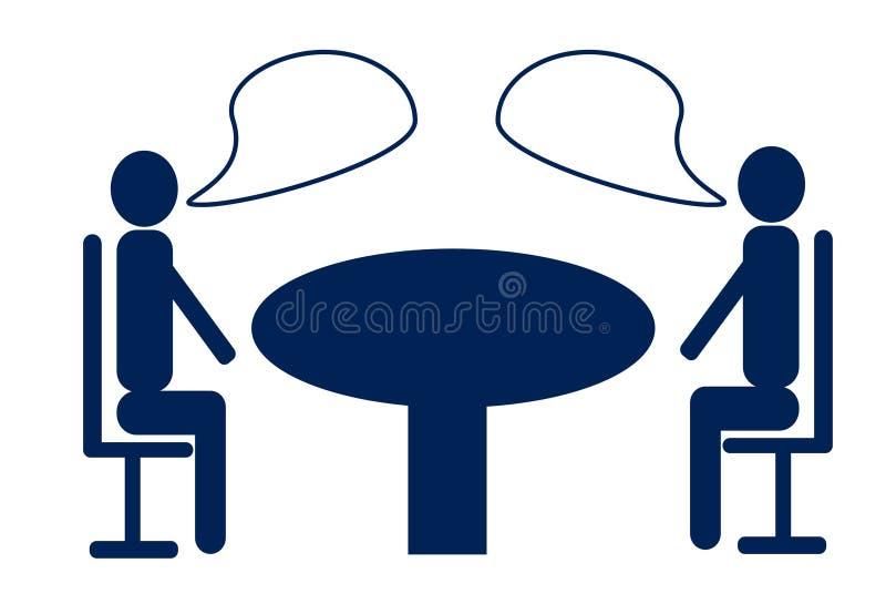 Diskussion mellan två affärsmän på den runda tabellen royaltyfri illustrationer