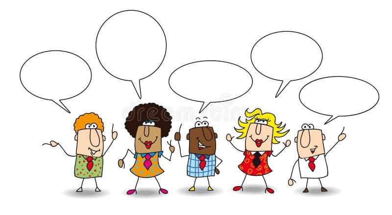 Diskussion tillsammans royaltyfri illustrationer