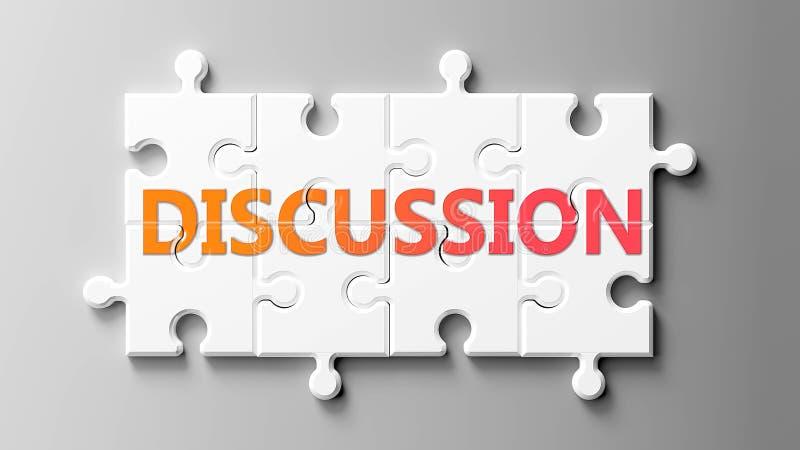 Diskussionskomplex som ett pussel - bildas som ord Diskussion på ett pussel för att visa att det kan vara svårt att diskutera och stock illustrationer