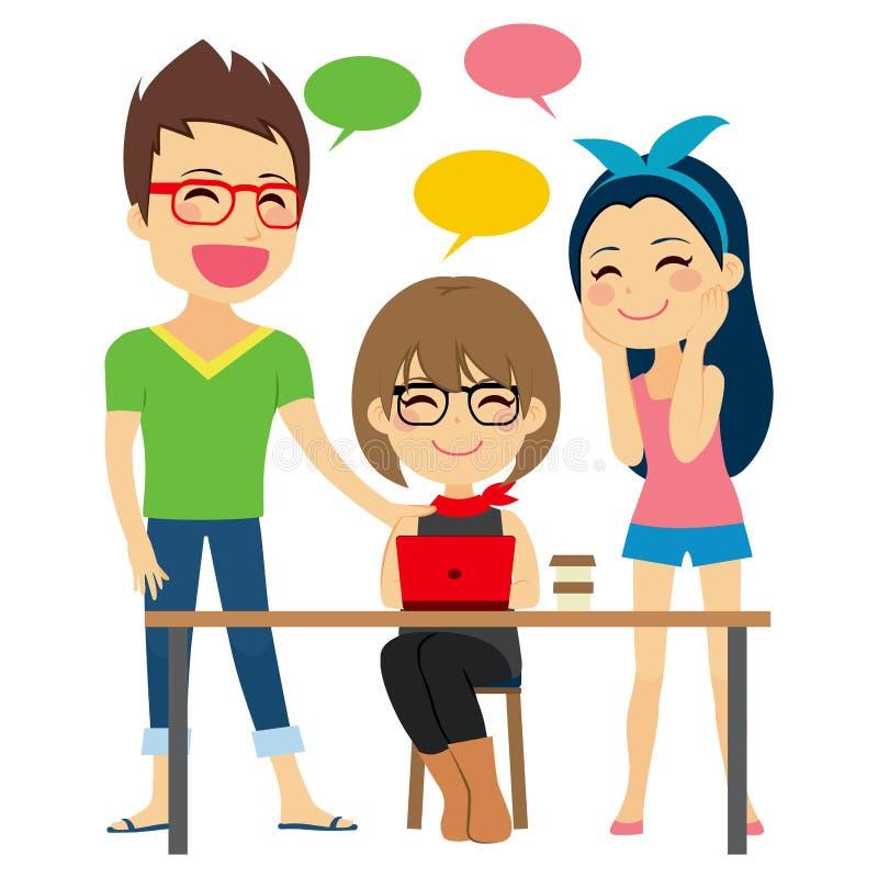 Diskutera arbete Coworking stock illustrationer