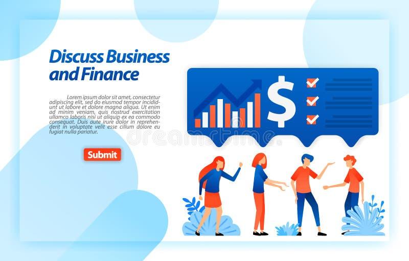 Diskutera företaget som är finansiellt, och affärsdiagram vid idékläckning och likställaidéer att få analys och strategi Vektoril stock illustrationer