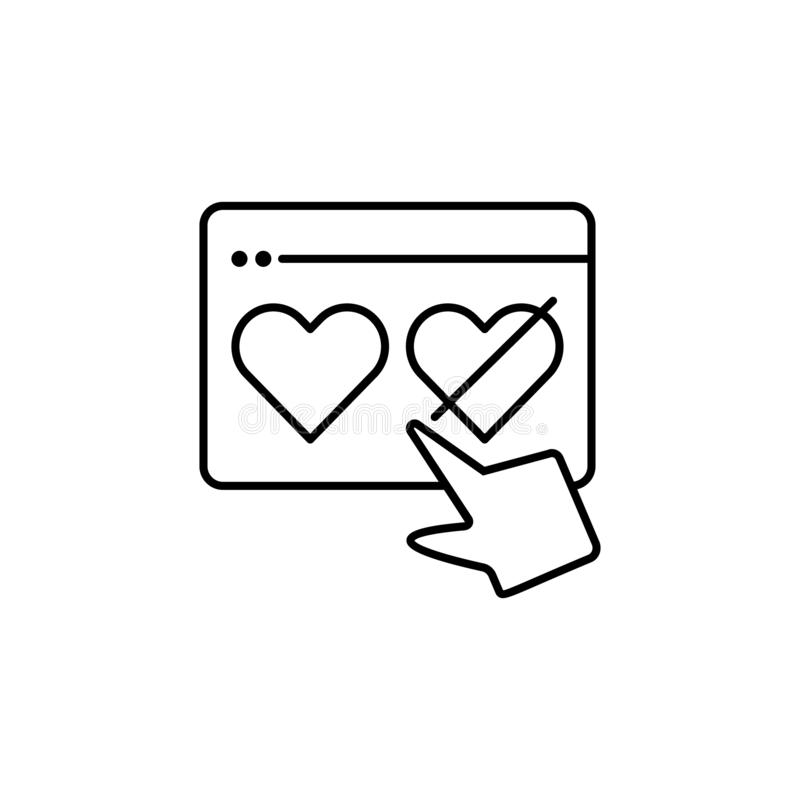 Dislike education hand like love icon. Element of distance education line icon royalty free illustration