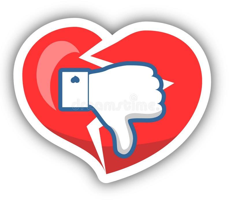 Dislike, Heart Icon With Shadow. Vector illustration. stock illustration