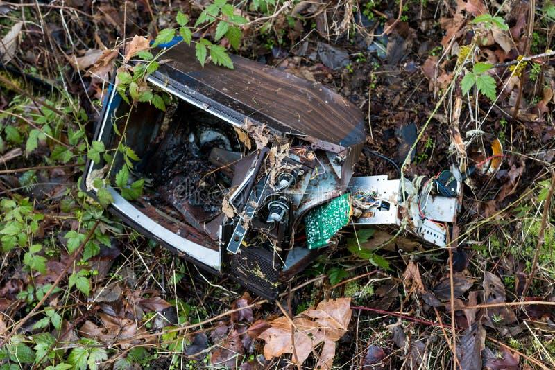 Dismantled ha fracassato il televisore con la crescita delle erbacce e delle piante fotografie stock