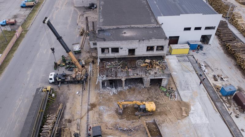 Dismantling of industrial building top view.  royalty free stock photography